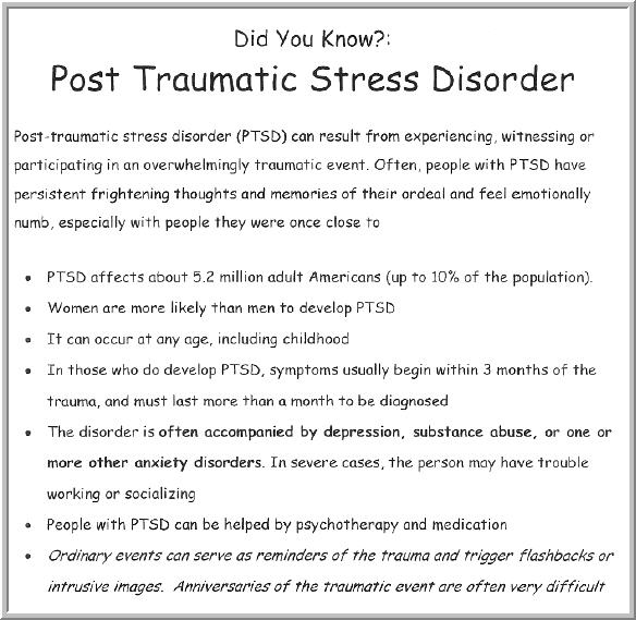 the study of post traumatic stress disorder The center for the treatment and study of anxiety at the university of pennsylvania is an internationally renowned treatment research center dedicated to developing, refining, and testing state-of-the-art therapies for anxiety and traumatic stress disorders.